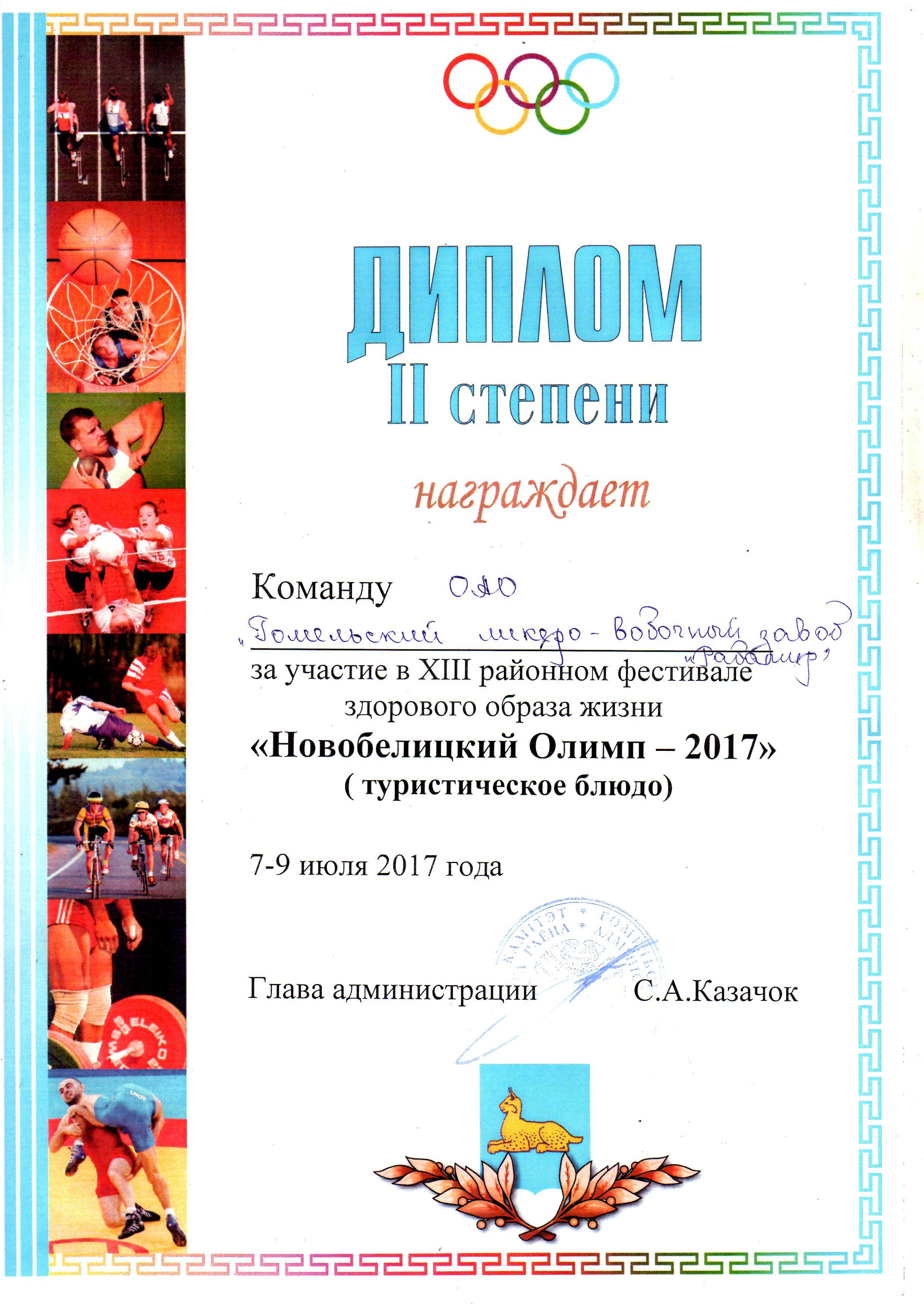 Фестиваль здорового образа жизни Новобелицкий олимп  Диплом ii степени в номинации Лучшее туристическое блюдо